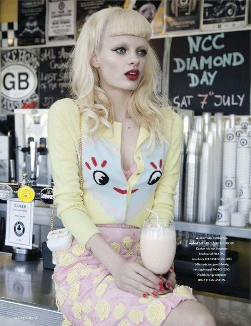 Get a pale light blonde like hers with Manic Panic Virgin Snow toner!
