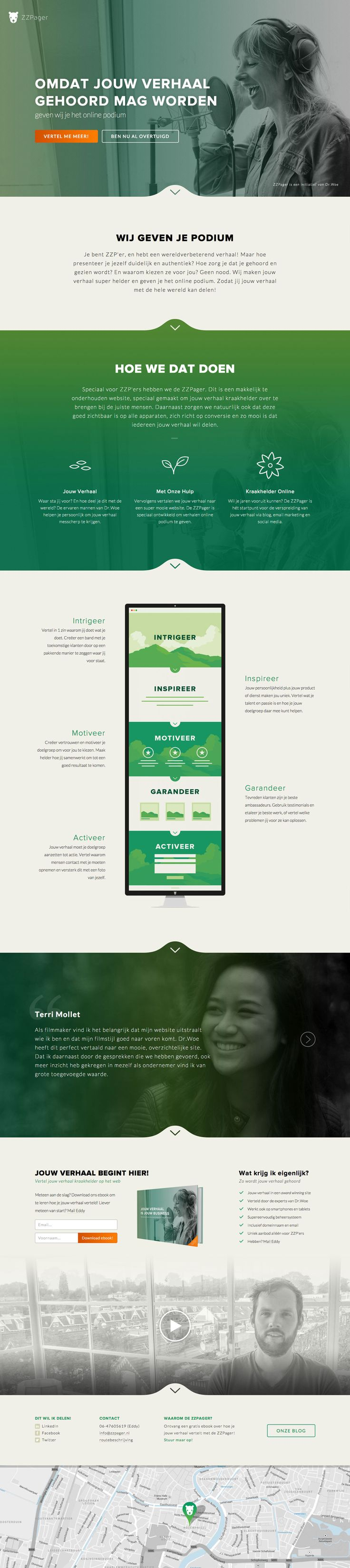 """Responsive one pager for 'ZZPager' - a new service that helps entrepreneurs """"tell their story"""" in a one pager. Really like that stretched one pager infographic."""