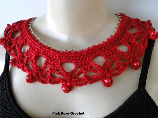 Pink Rose Crochet: Colar com Corrente - Crochê