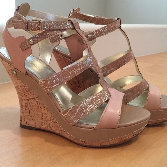 "Guess tan and gold wedge heels Guess wedge heels. 5"" cork heel with gold detail. Ankle strap. Worn twice. Excellent condition. Look brand new. Guess Shoes Wedges"