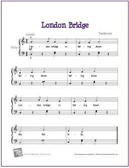 London Bridge   Free Sheet Music for Easy Piano - http://makingmusicfun.net/htm/f_printit_free_printable_sheet_music/london-bridge-piano-solo.htm