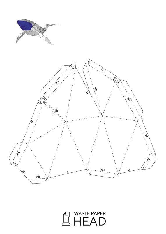 Papercraft whale printable DIY template por WastePaperHead en Etsy