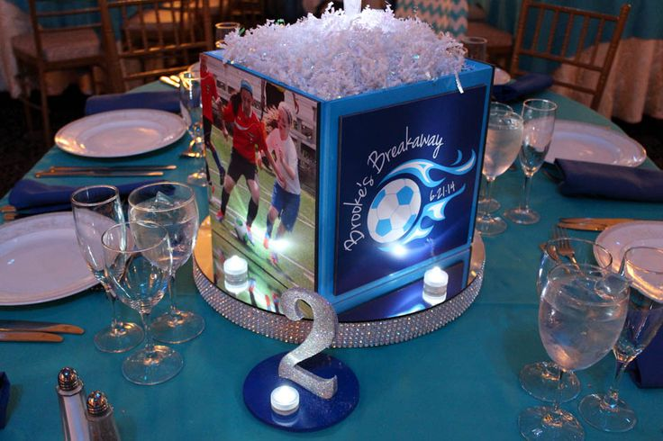 Soccer Themed Photo Cube Centerpiece with Bling Base, LED Lights