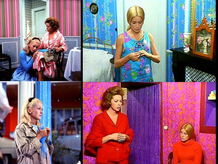 The bright clothing in Les Parapluies de Cherbourg is incredible!  Sometimes it even matches the wallpaper in the background.  The musical itself is worth watching (lovely story, tear-inducing musical theme), even if not for the beautiful costumes and sets.