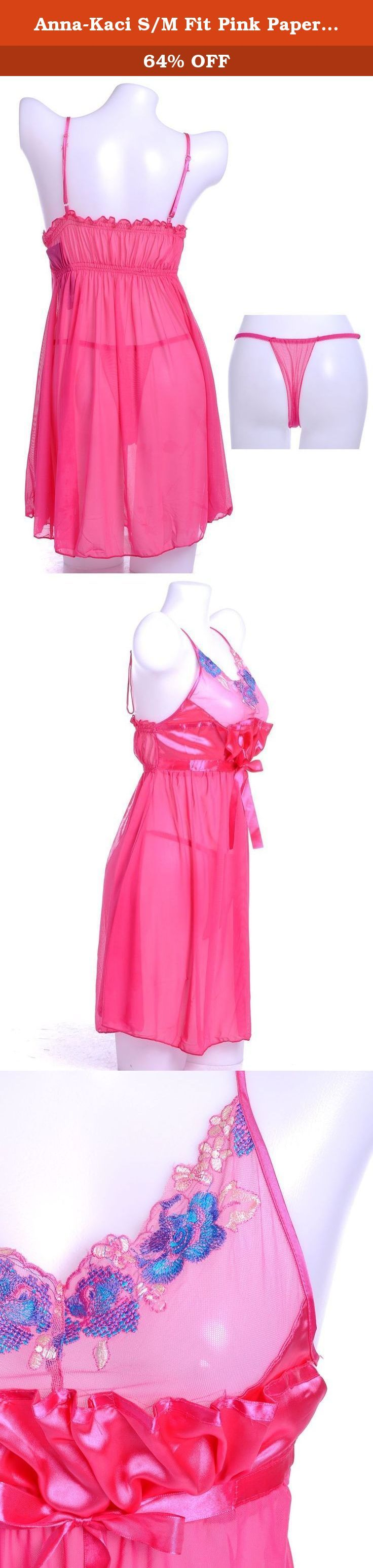 """Anna-Kaci S/M Fit Pink Paper Bag Gathered Front Blue Floral Appliques Negligee. Look like a sweet cupcake with this pink negligee. This negligee features ribbon bow front, blue floral appliques and paper bag gathered front. Comes with a matching g-string. DETAILS: - SMALL/MEDIUM FIT - BUST: 22-30"""" - WAIST: 24-38"""" - BODY LENGTH: 28""""."""