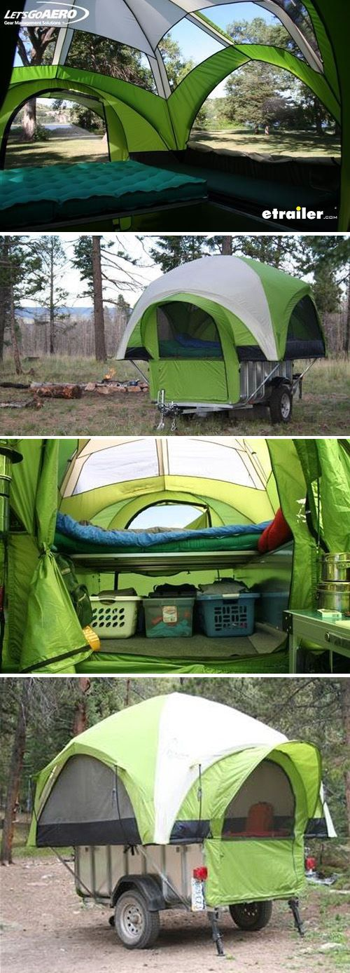 All-in-one A-frame utility trailer and pop-up camper is great for work and weekend adventures Leave the tent at home and use your trailer for hauling cargo Attach the tent to create a pop-up camper that sleeps 4 people and holds their camping gear