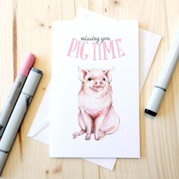 Missing You Pig Time Card  Cute Miss You Card by BeckyWarrenDesign