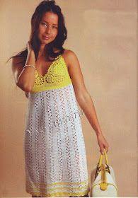 Uncinetto d'oro: Prendisole bianco - giallo !!!