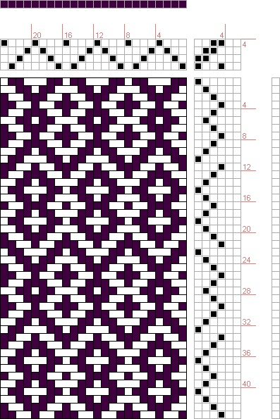 Hand Weaving Draft: Rosepath MW, Drafted on Pixieloom, 4S, 6T - Handweaving.net Hand Weaving and Draft Archive