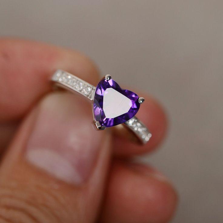 Natural Amethyst Ring Purple Crystal Gemstone Ring Silver Heart Cut Quartz Ring Engagement Ring February Birthstone Ring