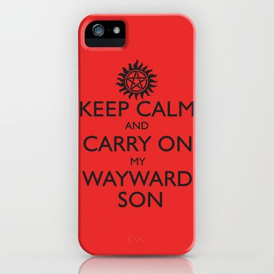SUPERNATURAL KEEP CALM AND CARRY ON MY WAYWARD SON iPhone Case