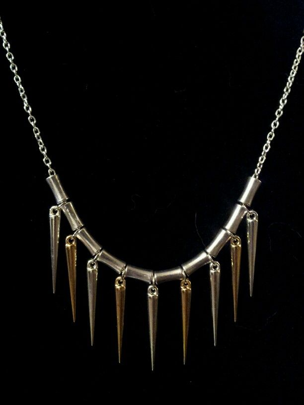 Silver & Gold Acrylic Spike Necklace on Silver Chain - $12 (Link available soon)
