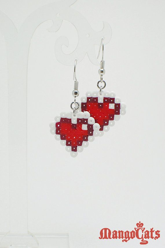 One pair of Zelda heart earrings made with mini hama by MangoCats, $6.00