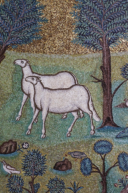 Detail of the great apse mosaic of Sant' Apollinare in Classe, Ravenna.
