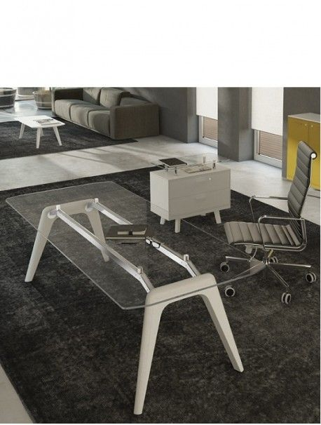 Bureau de direction design en verre RAIL, très belle association de matériaux nobles, plateau en verre trempé et pieds en bois massif