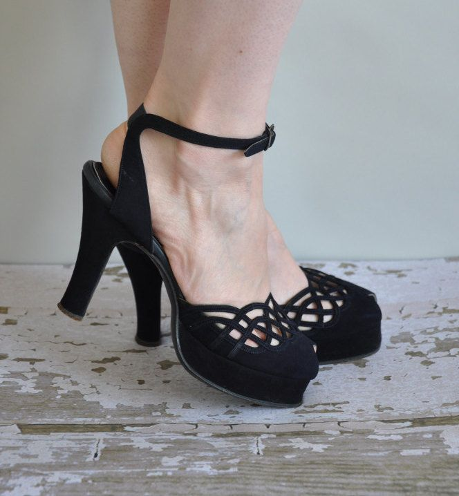 vintage 1940s heels / 40s black platform cuban heels / Take Me Out On The Town
