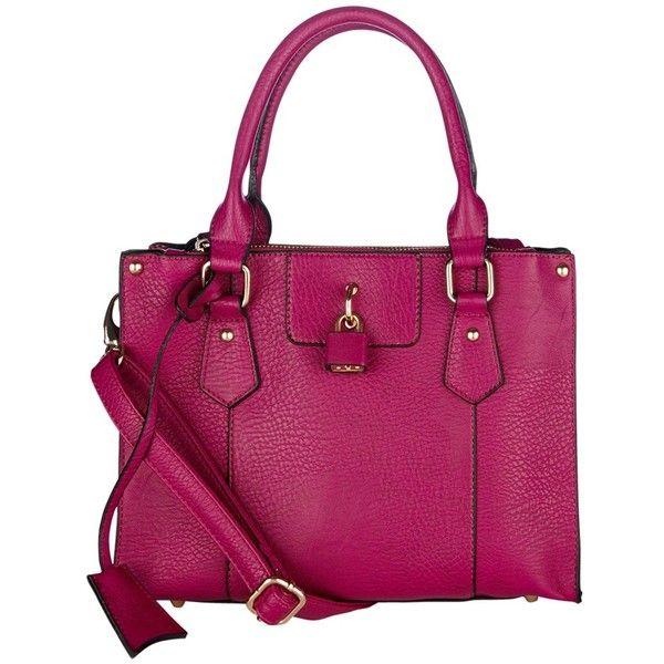 Oasis Tamsin Mini Triple Compartment Handbag, Bright Pink (£22) ❤ liked on Polyvore featuring bags, handbags, purple tote, shoulder strap purses, handbag purse, tote handbags and mini tote bags