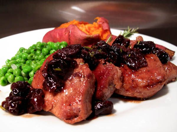Pork tenderloin with port dried cherries sauce/ Cooks Illustrated ...