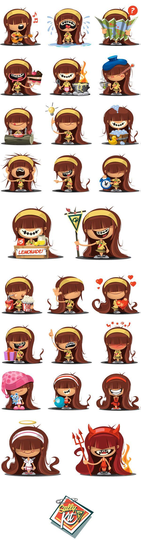 Sally! . Emoticons Set on Behance
