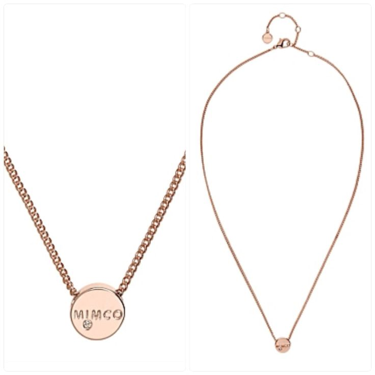 Mimco Rose Gold Big Bang Short Necklace. Delicate short curb chain & jewelled Mimco branded disk.