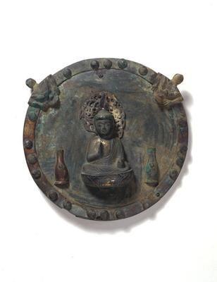 Buddha 'Yakushi Nyorai'. Japan. Later Heian to early Kamakura period (12 - 13th century). Bronze. h 16 x w 16 x d 3 cm (box: 7 x 26.5 x 24). Acquired 2001. Robert and Lisa Sainsbury Collection. UEA 1207. www.scva.ac.uk