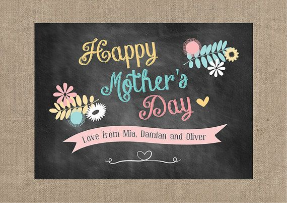Mother's Day Card - Personalised Chalkboard DIY Printable ...