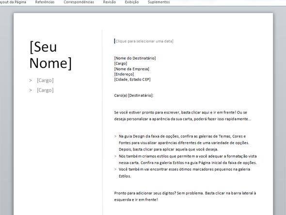 Carta de apresentação cronológica