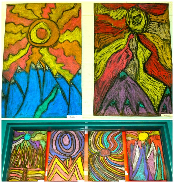 When I found out my 2nd graders were studying landforms in their Social Studies unit, I knew I had to try theseTed Harrison landscapes again. We went about the project in a pretty similar fashion …