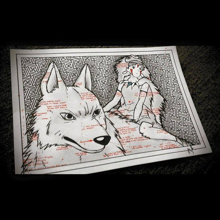 #Princess Mononoke  #studioghibli #wolf #mononoke #sayagata #pattern
