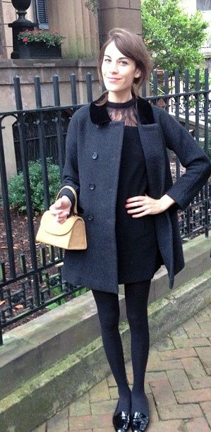 alexa Chung, fashion, style, coat, fur collar, ballet flats, back lace dress, cute, dressed up, simple