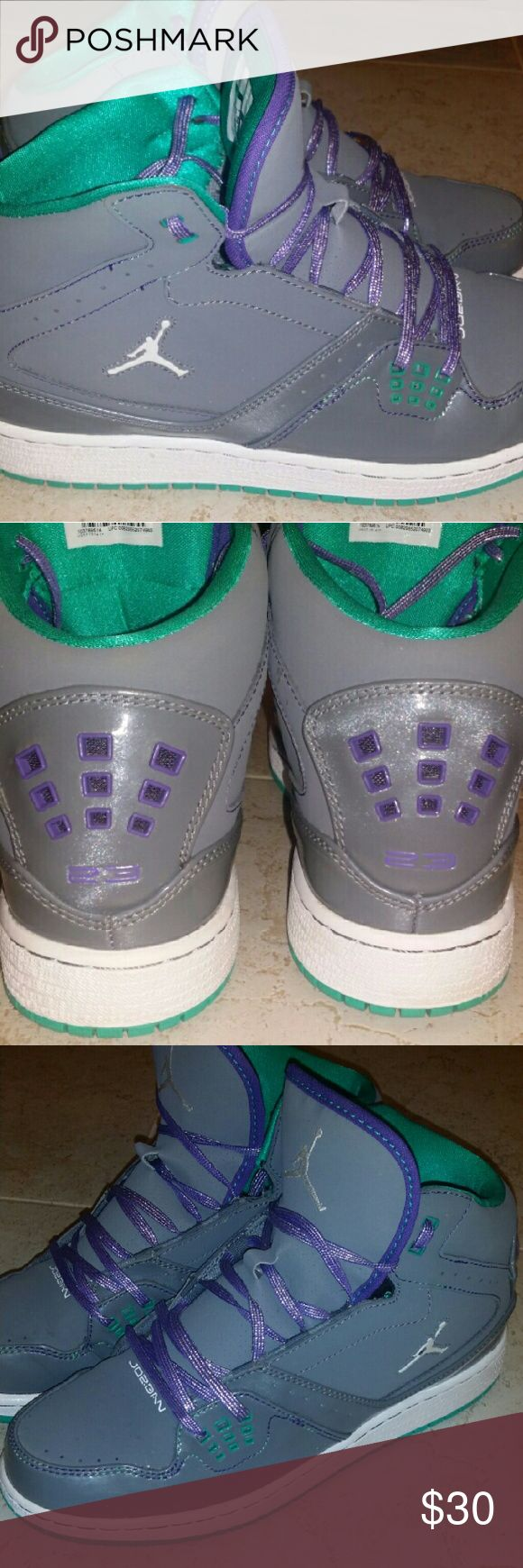 Purple, Teal and Grey Jordan Flight Club Worn one time, youth size 7, like new Jordan Shoes Athletic Shoes