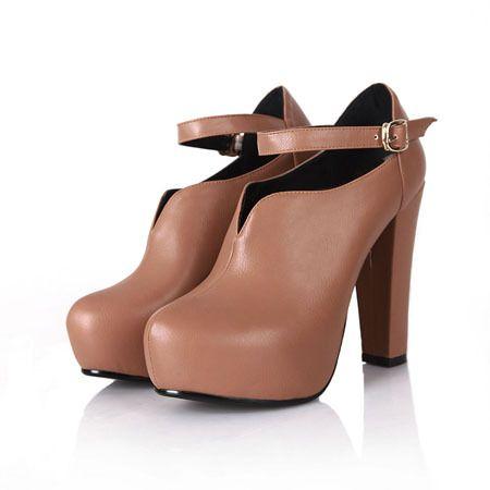 Nya Ren färg PU läder ankel stövlar kvinnor höga klackar spänne vinterskor storlek 34 40-in Boots från skor på Aliexpress.com