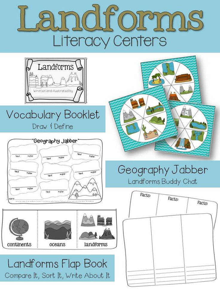 landforms experiments games art and writing activities