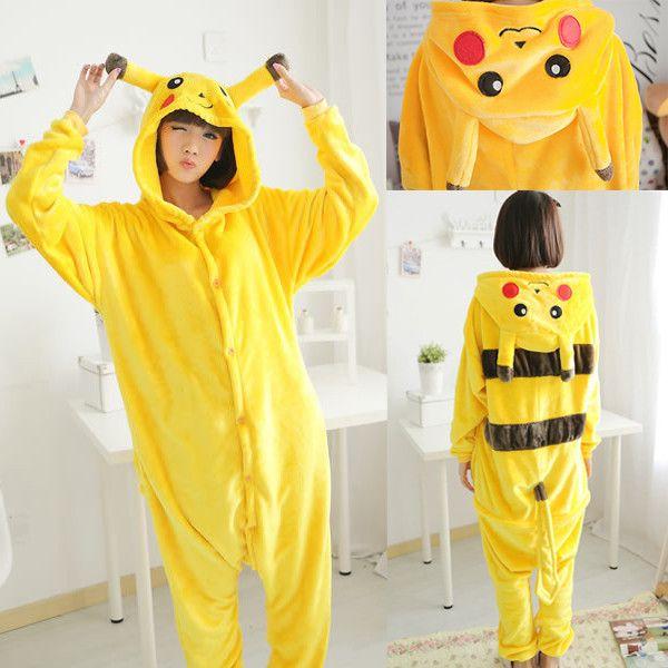 Unisex Adult Pikachu Pajamas Flannel Cartoon Cute Pyjama Sleepwear Women Pokemon Cosplay Pikachu Pyjamas Sleep & Lounge Onesies