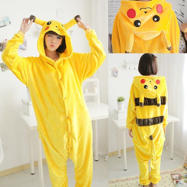 Unisex Adult Pikachu Pajamas Flannel Cartoon Cute Pyjama Sleepwear Women Pokemon Cosplay Pikachu Pyjamas Sleep & Lounge Onesies