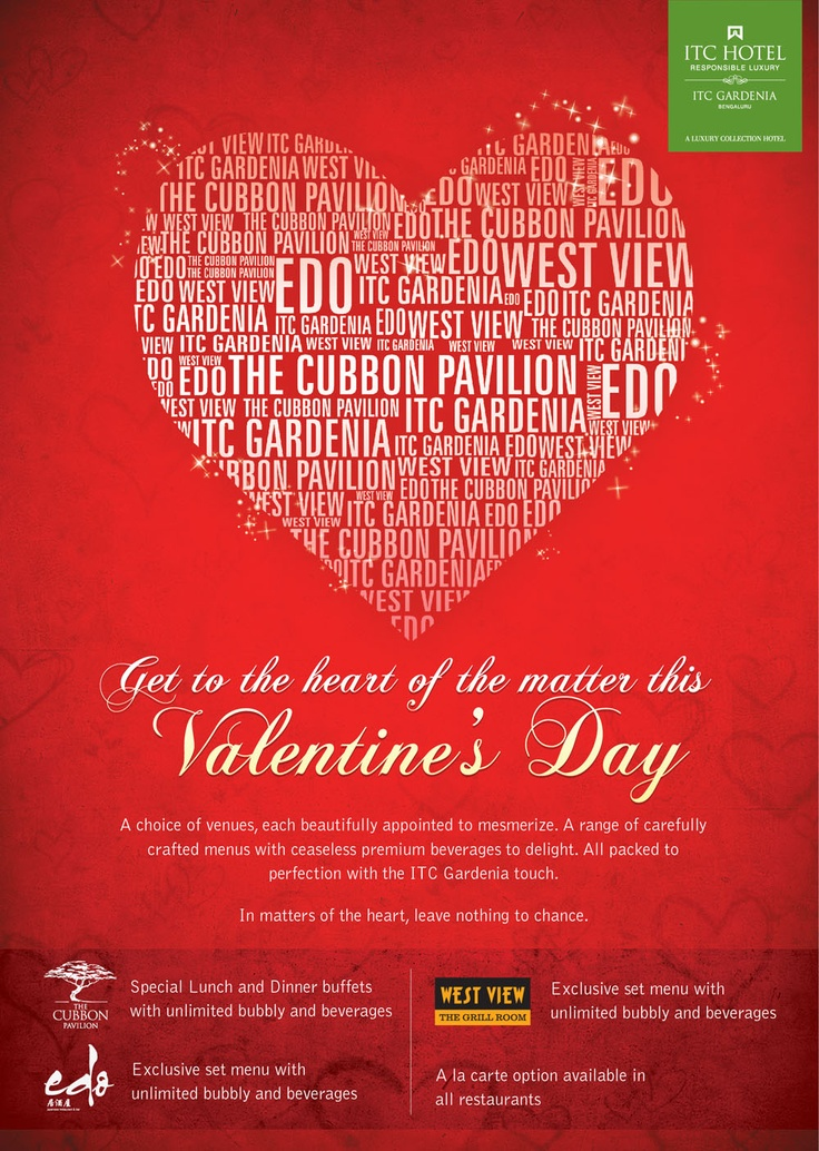#ValentinesDay Woo your Valentine at ITC Gardenia... For more details visit: https://www.facebook.com/ITCHotels