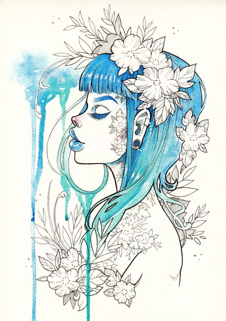 Idea for drawing-Flower water girl from side