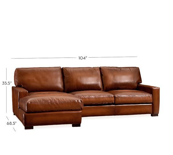 Turner square arm leather 2 piece chaise sectional for Andersen leather chaise sectional