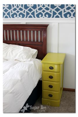 Nightstands - from a desk! - Sugar Bee Crafts old desk with drawers on both sides is sawed in two and treated to new hardware and paint. Could this be the answer to my need for narrow nightstands?