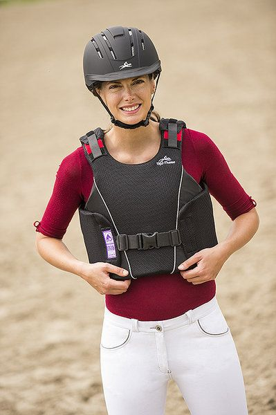 Bustino equitazione protettivo per adulti Equi-thème, leggero e flessibile, si adatta bene al corpo, chiusura con velcro sulle spalle.