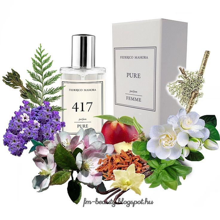 FM417 PURE női parfüm - Elizabeth Taylor - Passion-szerű illat.  Édes, csábító, érzéki, hipnotizáló illat vaníliás jegyekkel.  Illatcsalád: keleties-fás. Fejjegyek: almavirág, bazsalikom, nektarin. Szívjegyek: kunkor, gardénia, enyvesmag. Alapjegyek: szantálfa, pézsma, vanília, tölgymoha, cédrusfa.