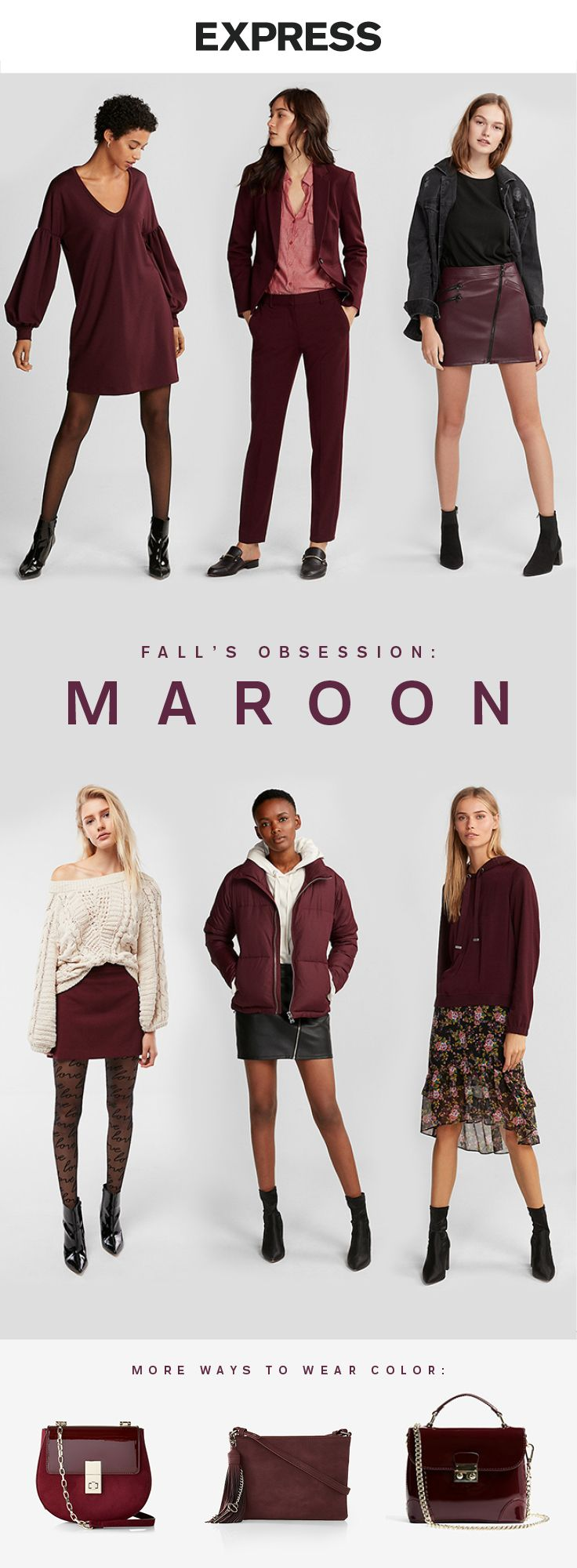 Turn heads in rich maroon tones this fall. Find maroon skirts, sweaters and jackets at Express.
