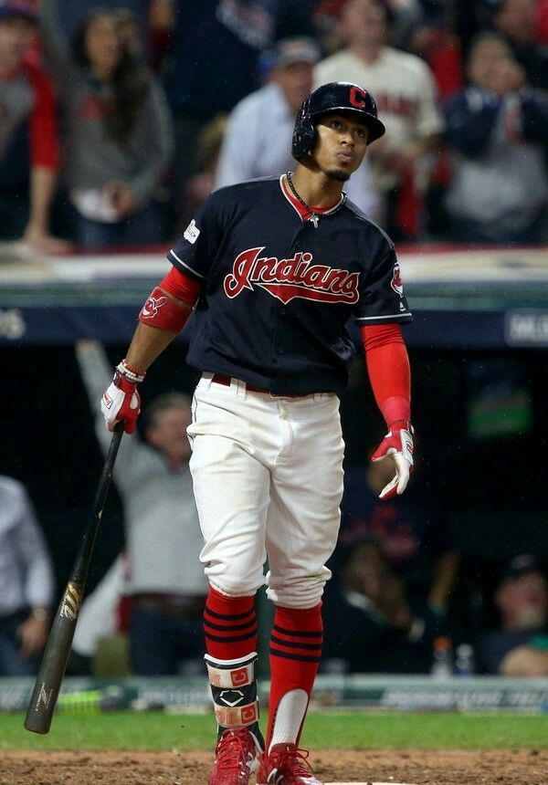 Cleveland Indians' Francisco Lindor watches his grand slam in the bottom of the 6th inning against the New York Yankees, Friday, October 6, 2017. (Thomas Ondrey / The Plain Dealer). Indians won 9-8 in the 13th of game 2 of ALDS. Indians lead series 2-0