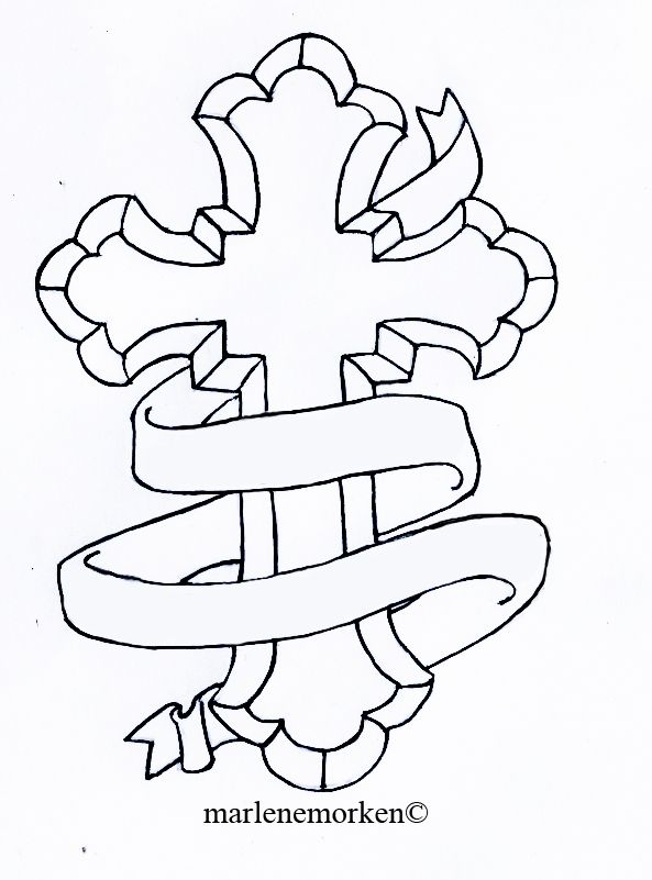 "Cross Tattoo Design with ""His Son"" placed on inside right hand wrist"