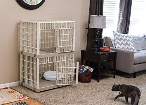 IRIS brings your their bestindoorand outdoor cat cage. This is a 2-tier cage but you can also purchase this on a 3-tier version. There are also 2 types of color available, beige and yellow.