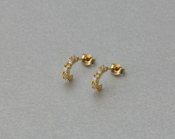 Cubic Post Earring 10 Pieces  C3090G-010 Polished Gold Plated