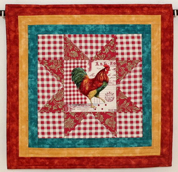 Rooster Wall Hanging  Wall Quilt  French by RedNeedleQuilts