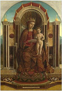 Gentile Bellini (Italian, c.1429–1507), Madonna and Child Enthroned, late 15th century. Note the Islamic prayer rug at the feet of the Virgin Mary, an example of Oriental carpets in Renaissance painting.
