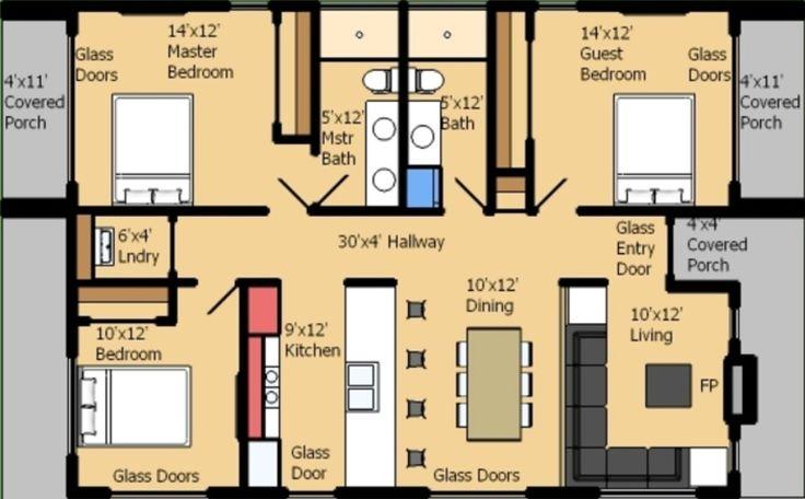 Planos de casas de una planta rectangular proyectos que - Que vale construir una casa ...