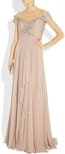 For Mother of the Bride: Marchesa Offtheshoulder Embellished Silkchiffon Gown in Pink (blush) - Lyst
